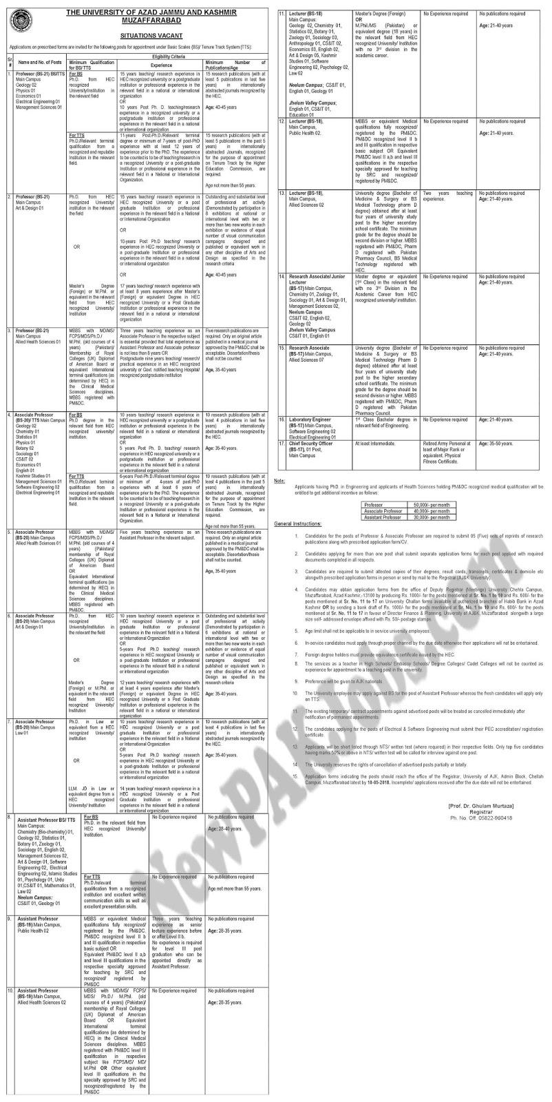 Latest Ajk 2018 Jobs in The University of Azad Jammu Kashmir (120+ Posts)