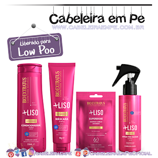 Condicionador, Máscara Spray e Superdose  + Liso - Bio Extratus (Low Poo)