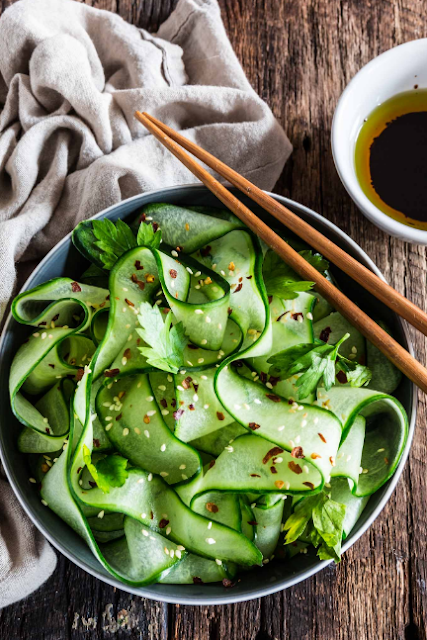 THAI CUCUMBER SALAD WITH SESAME GINGER DRESSING