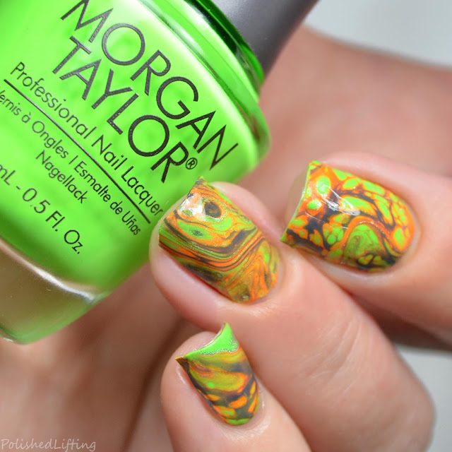 lime green fluid nail art