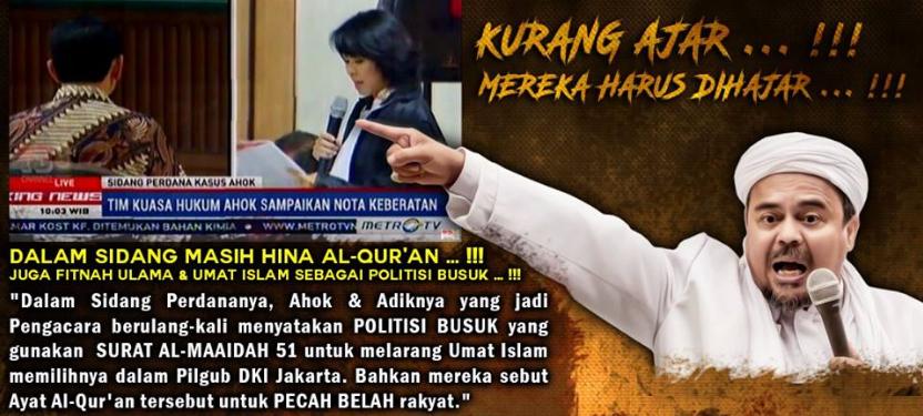 Dalam Sidang Ahok Masih Hina Al Quran, juga Fitnah Ulama dan Umat Islam sebagai Politisi Busuk