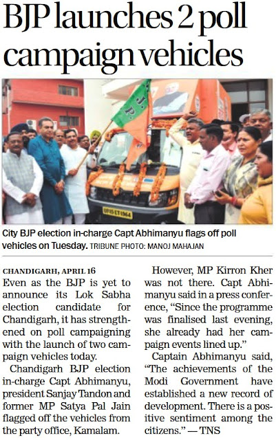 City BJP election incharge Capt Abhimanyu, Ex-MP Satya Pal Jain flags off poll vehicles on Tuesday.