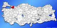 Kocaeli ilinin Türkiye haritasında gösterimi