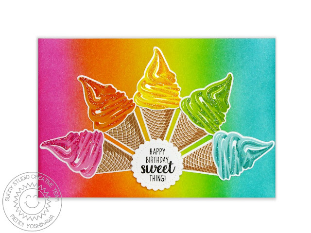 Sunny Studio Stamps Two Scoops Rainbow Sherbet Ice Cream Card by Mendi Yoshikawa