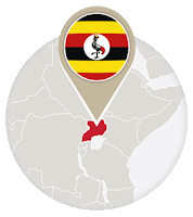 Ugandan flag and map