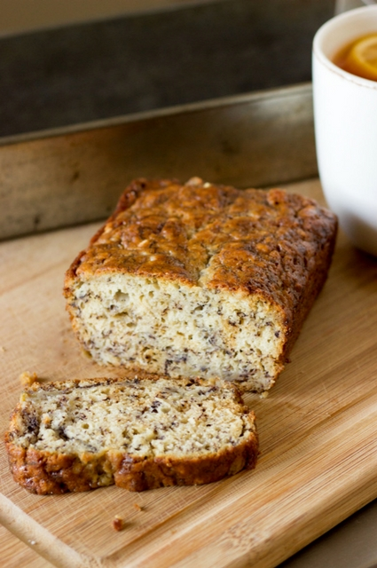 Slice of Favorite Banana Loaf Baked in Vintage Baking Pan