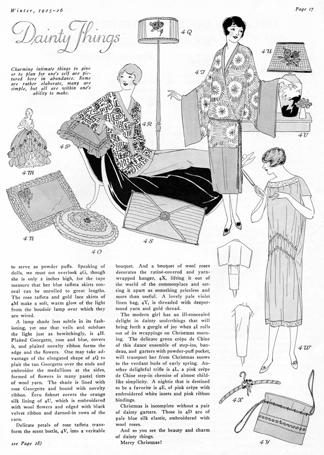 chemise, negligee, lampshades and pillows from 1925 Christmas gifts