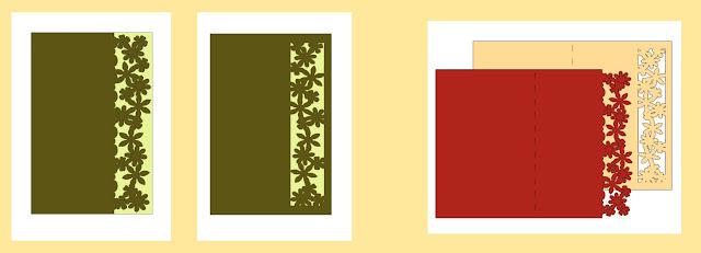 Zwei Karten mit Blumenrand: Schneidedatei