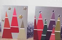 Maalilastuista askarrellut kuusikortit