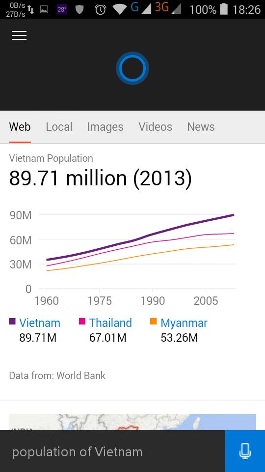 Dùng Cortana để tra cứu thông tin trên internet