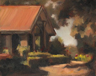Oil painting of the front of a house with a red gable roof surrounded by box hedges, trees and flowers.
