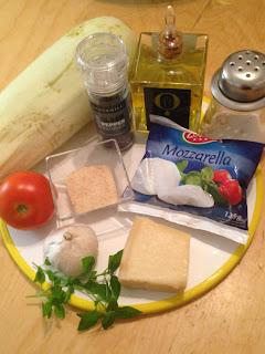 Calabacines con mozzarella gratinados, ingredientes