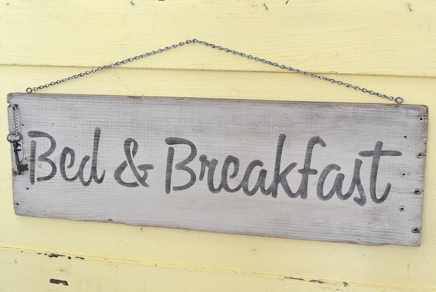 Bed & Breakfast rustic stenciled sign