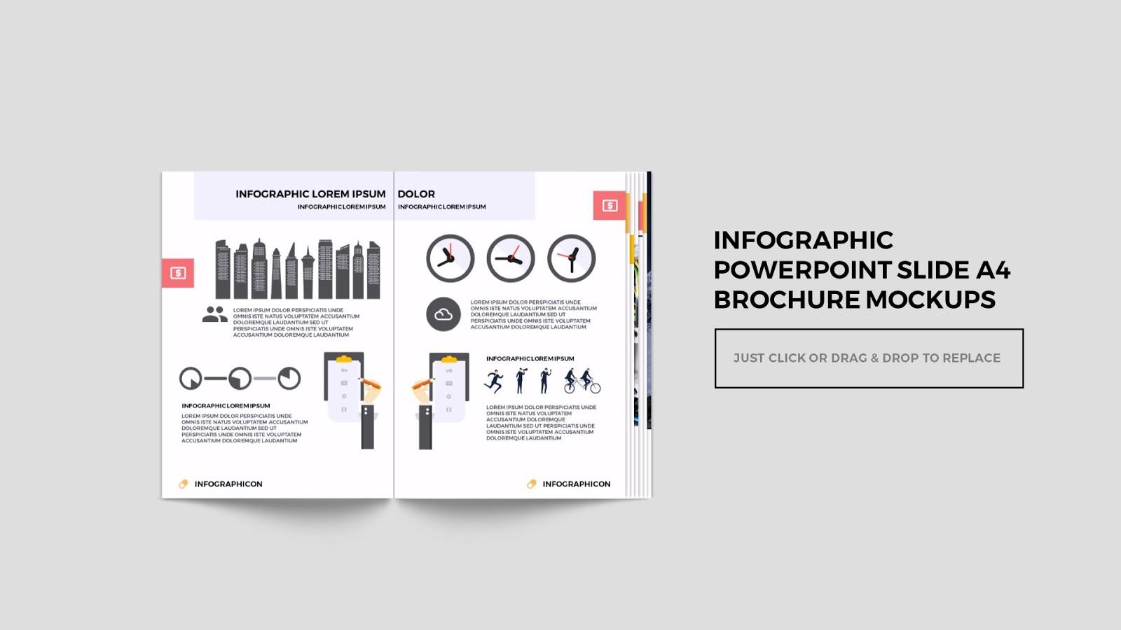 Multi page brochure mockup free powerpoint template for Multi page brochure template