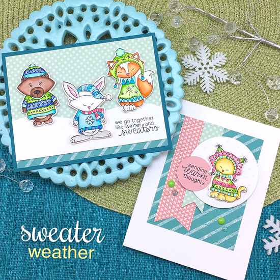 Animals in Sweaters Cards by Jennifer Jackson | Sweater Weather Stamp Set | Newton's Nook Designs #newtonsnook