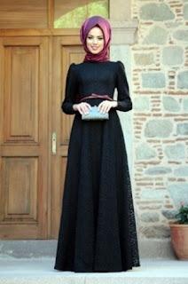 Model busana pesta muslim gamis sederhana