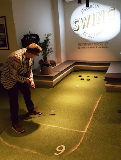 Swing by Golfbaren indoor minigolf course and speakeasy in Stockholm Sweden