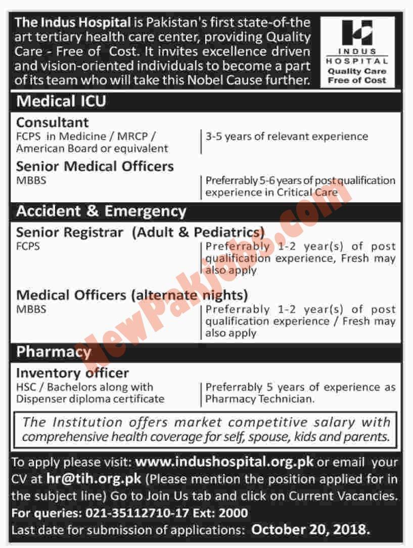Indus Hospital Karachi Announced Multiple Jobs October 2018