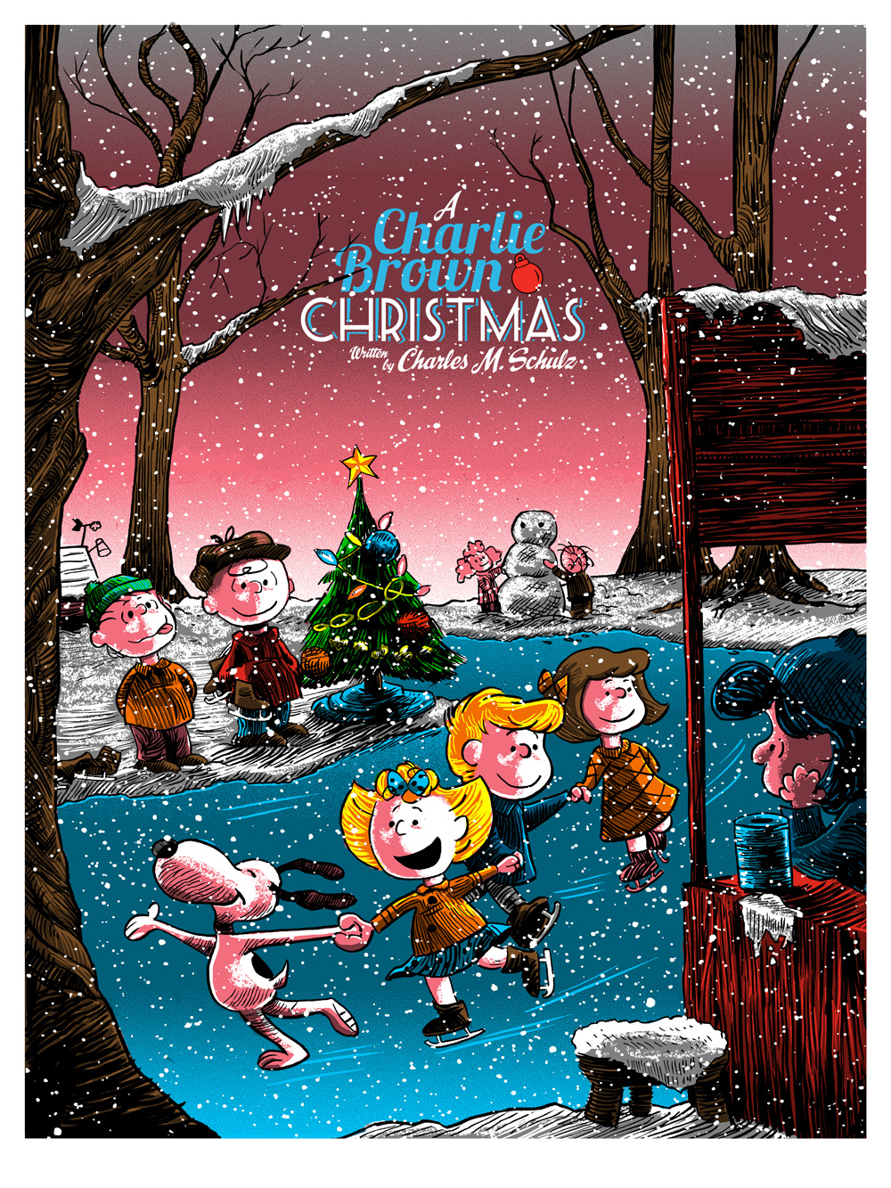 a charlie brown christmas by tim doyle ridge rooms poster release from dark hall mansion