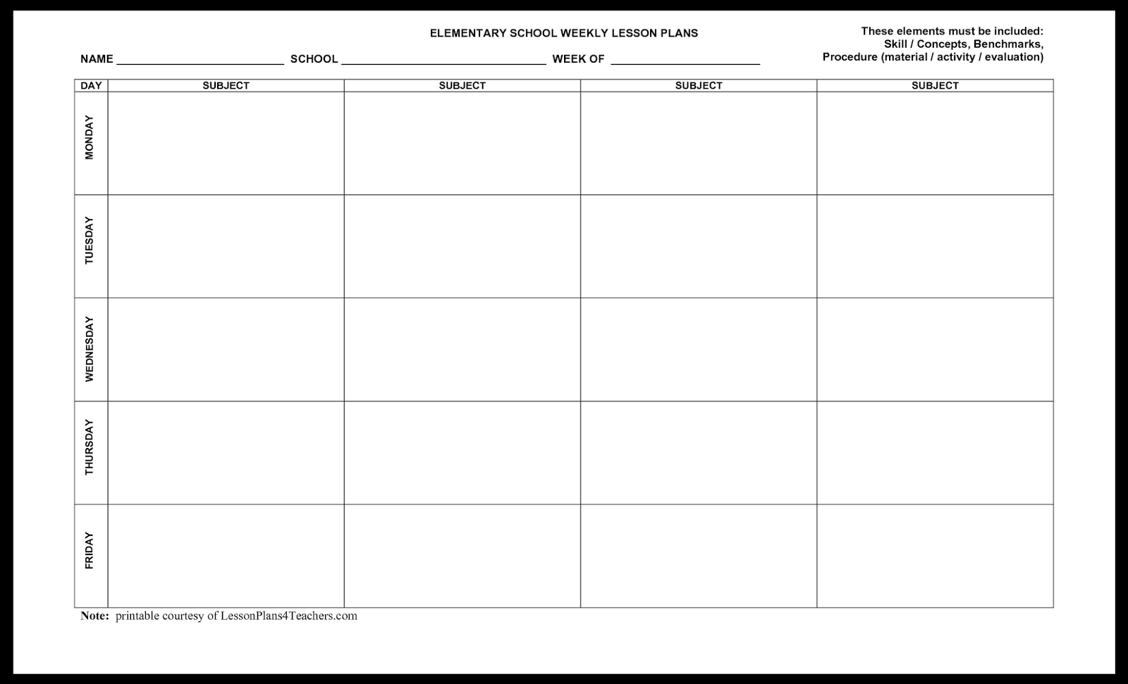 Free Lesson Planner Template | Resume Business Template