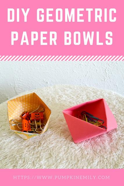 2 DIY Geometric Paper Bowls