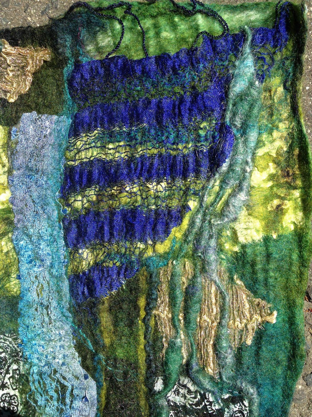 Arlenesfelt Blue Nuno Felt Wall Hanging