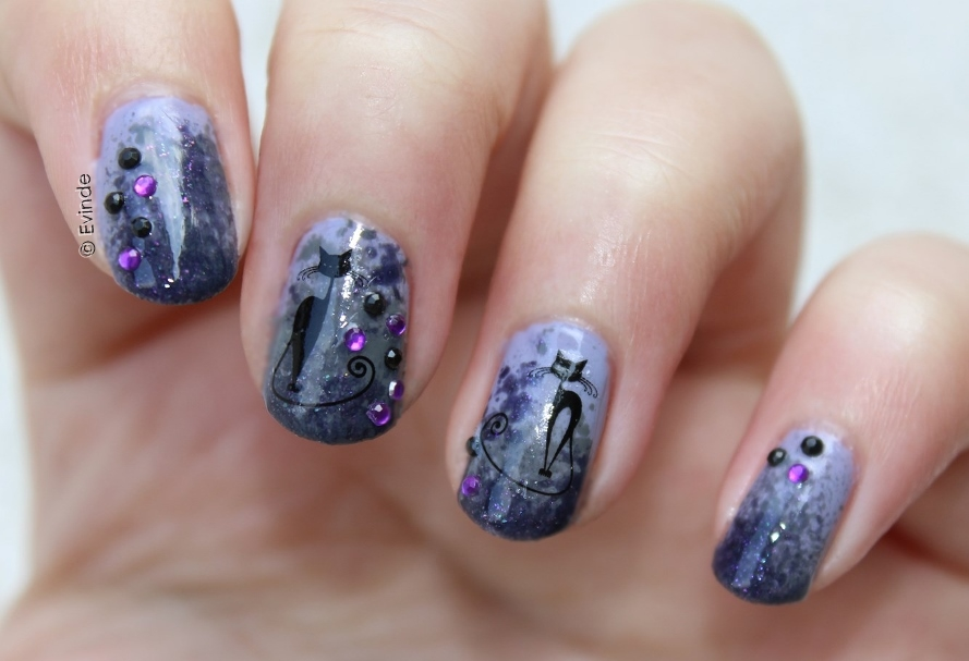 Spoopy Black Cat Nail Design for Halloween | Evinde's ...