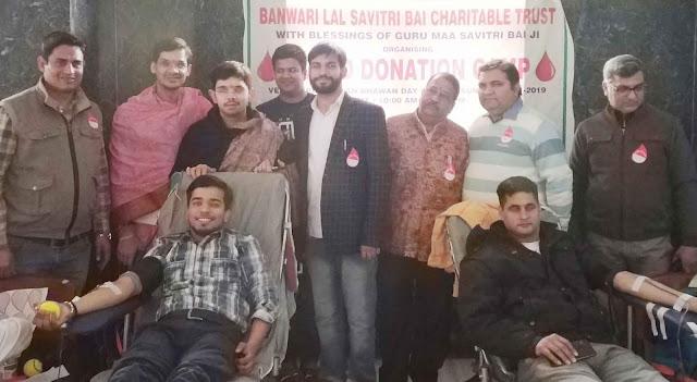 Organizing a huge blood donation camp at Rajasthan Bhawan Faridabad Sector 10