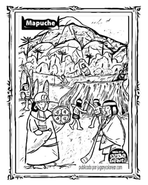 Colorear pueblos originarios de Chile - Jugar y Colorear