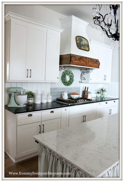 French Country Farmhouse Kitchen-kitchenaid pistachio mixer -French Farmhouse-Shiplap-backspalsh-DIY-From My Front Porch To Your-
