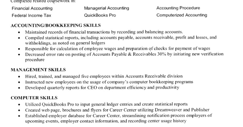 Job resume examples for students