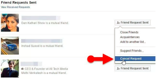 How To Cancel Request On Facebook