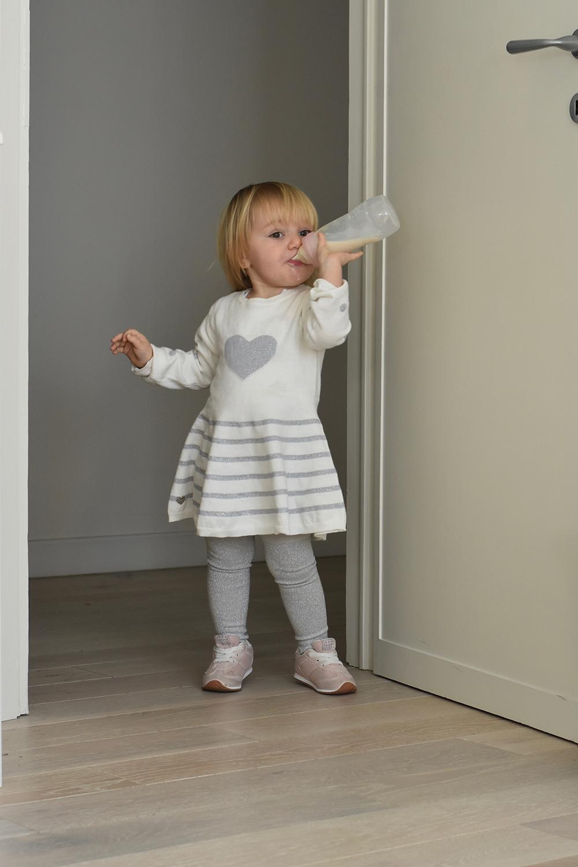 abito bambina bianco grigio