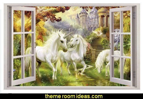 Unicorn Garden 3D Window View Decal WALL STICKER Home Decor Art Mural Fantasy