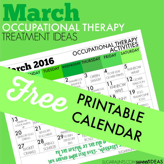 March, Spring, St. Patricks Day, and Easter themed Occupational Therapy ideas