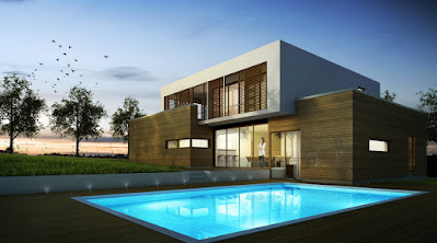 Perspective 3D de villa contemporaine