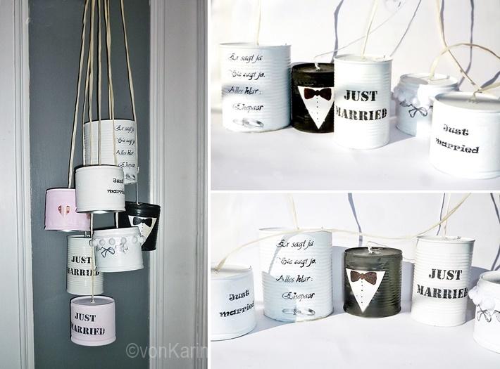 Konservendosen Upcycling zu Hochzeitsdosen