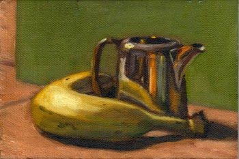 Oil painting of a banana beside a small silver-plated milk jug in front of a green background.