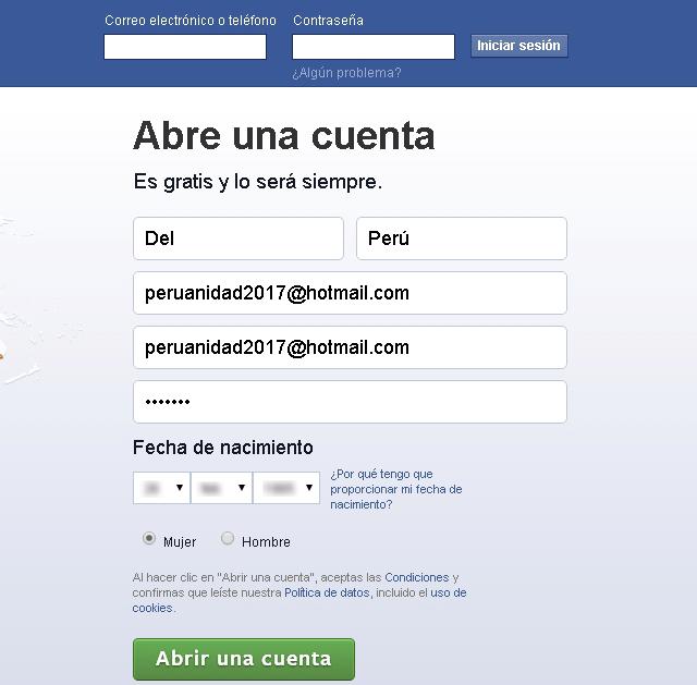 Como crear una cuenta en la red social Facebook