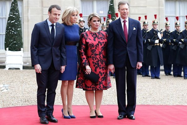 Grand Duke Henri, Grand Duchess Maria Teresa, French President Emmanuel Macron and Brigitte Macron
