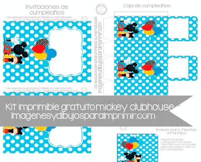 Invitaciones y caja de mickey clubhouse
