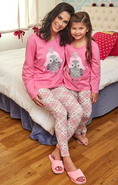 Dia das mães,presente para mamãe,fofura em dobro,DeMillus,pijamas,moda noite,feliz dia das mães,sugestão DeMillus para mamãe,pijama corujinha DeMillus,mães