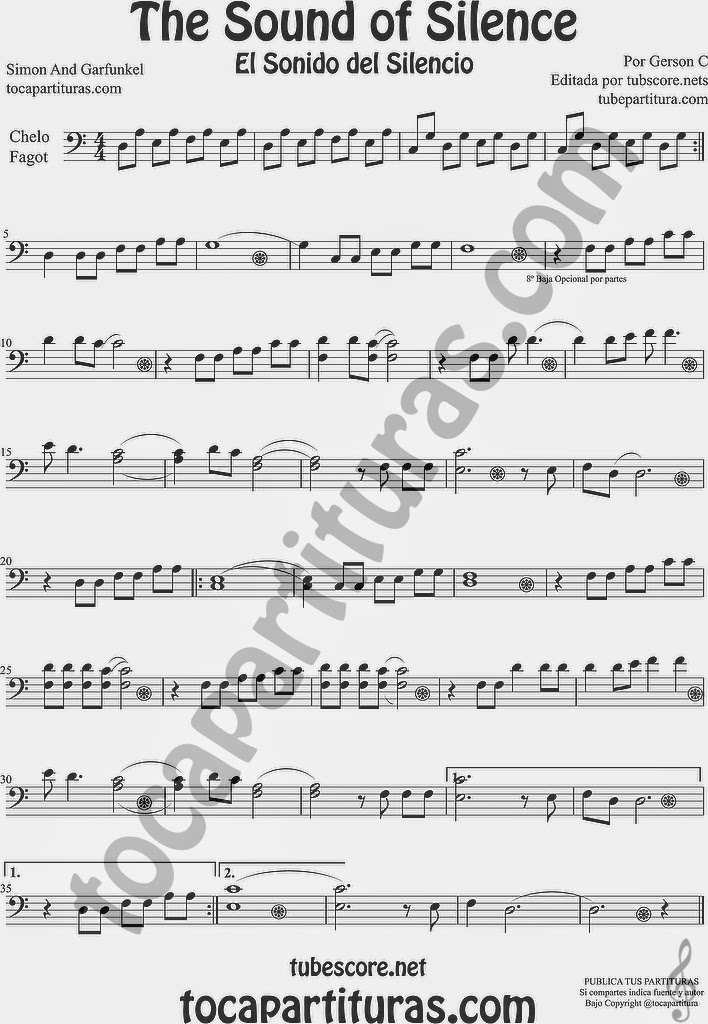 The Sound of Silence Partitura de Violonchelo y Fagot Sheet Music for Cello and Bassoon Music Scores El Sonido del Silencio