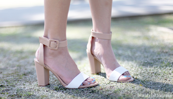 Sandals Heel And White Straps Tan in Review Zara Ankle Mid With TSHRFq