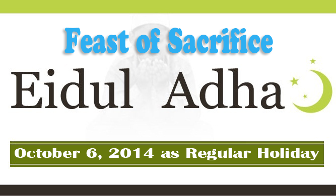 October 6 as Regular Holiday for Eidul Adha or Eid al Adha Observance as the Feast of Sacrifice