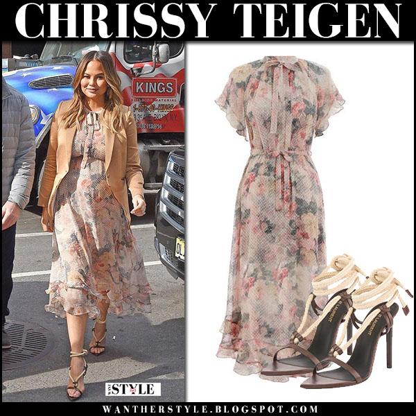 768eeddcc067 Chrissy Teigen in floral print midi dress zimmermann radiate and sandals saint  laurent majorelle fashion march