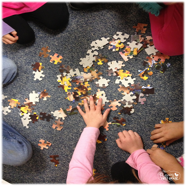 100th Day of School activities. Build a 100 piece puzzle.