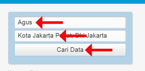 "Ketikkan Nama Lengkap Anda, Nama Kabupaten/Kota, dan Klik ""Cari Data"""