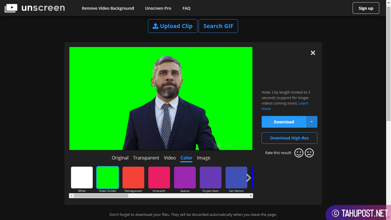 Opsi Greenscreen Unscreen - Menghapus Background Video Secara Otomatis
