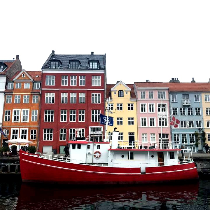 colourful buildings and boat in copenhagen